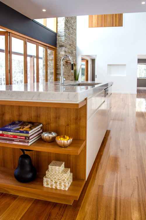 Marble bench top|Kitchen|Custom made Blackbutt timber shelves