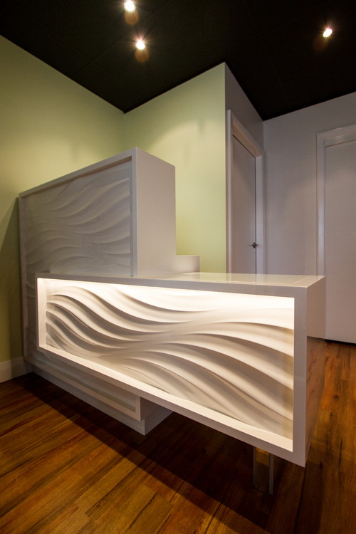 Custom Designed Reception desk with 3D 2 two packed panels , including defused lighting